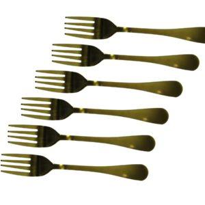 Conjunto 6 garfos de mesa ouro antigo - Rose Gold